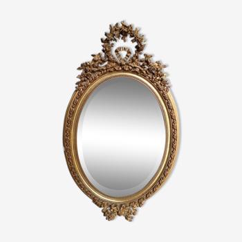 Miroir ovale bois doré st LouisXVI ep XIXem 96cm