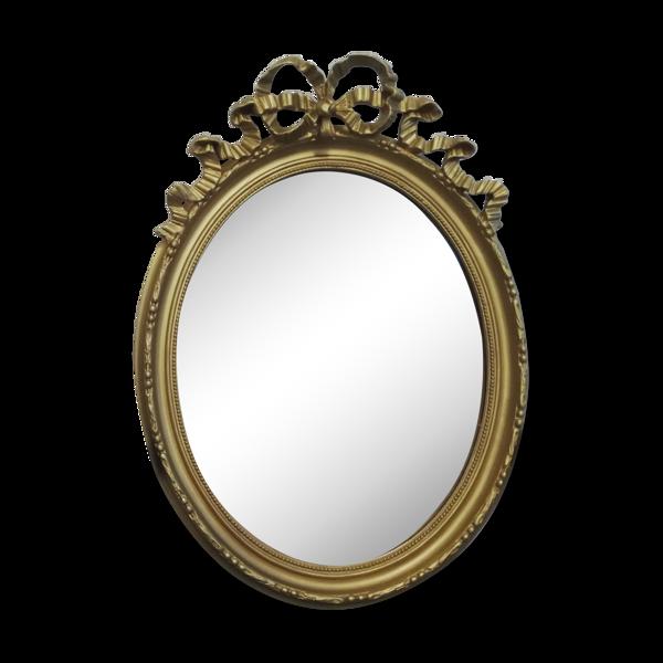 Miroir ovale en bois doré de style Louis XVI 48 X 67cm