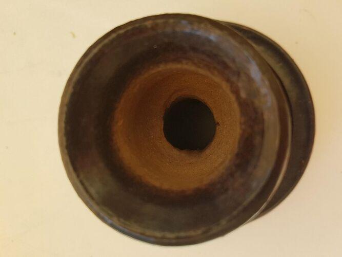 Bougeoir en céramique marron signé Jean Marais