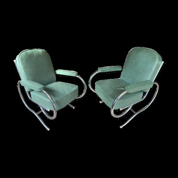 Paire de fauteuils vintage et design années 30 tube chromé et revêtement moleskine