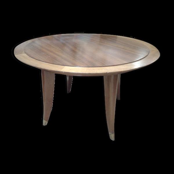 Table basse ronde Art Deco en bois blond