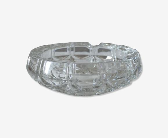 Cendrier vintage à facettes en verre et cristal des années 1970