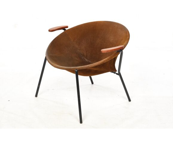 Cocktail chair, steel, leather, fur, teak. Vintage, Denmark, anonymous