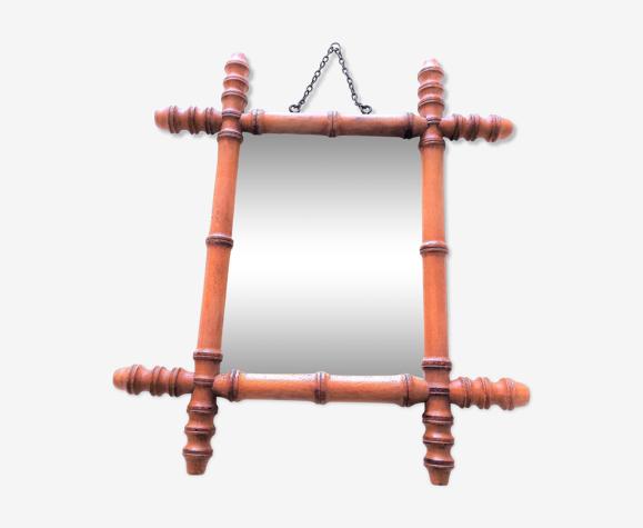 Miroir dit de barbier annee 30/50 bois style bambou véritable d'époque 35x45cm