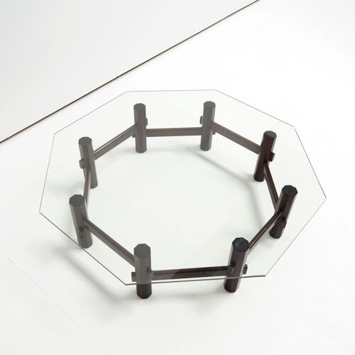 Italian styled coffee table in rosewood with glass top