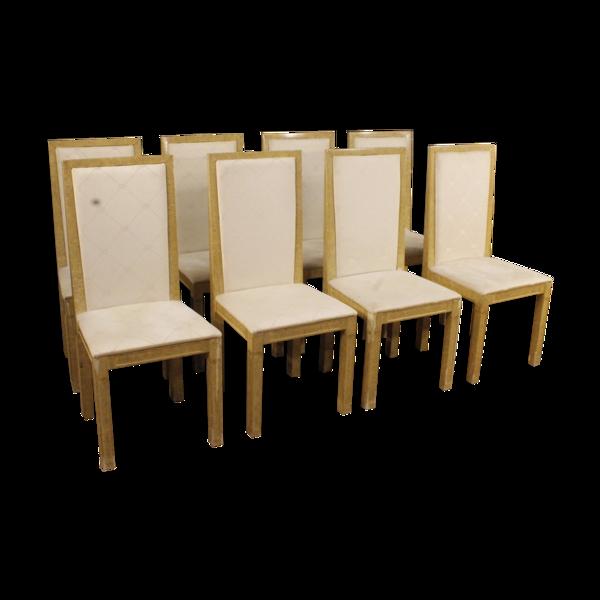 Set de 8 chaises italiennes laquées et peintes