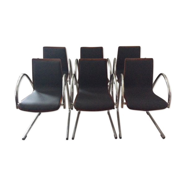 Série de 6 chaises vintage 80 édition SAMO