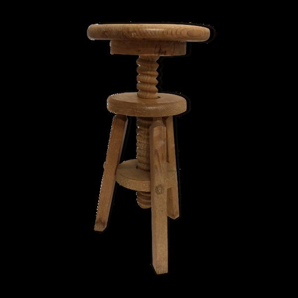 Tabouret à vis en bois vintage