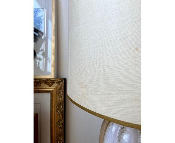 Lampe de table en céramique émaillée et papier beige