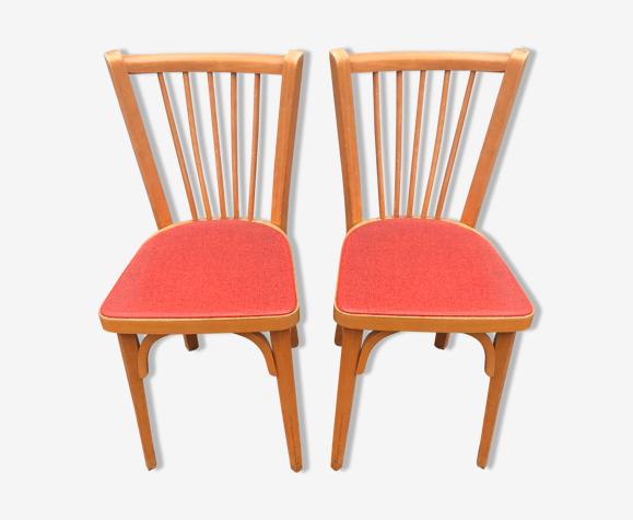 2 chaises bistrot Baumann rouge