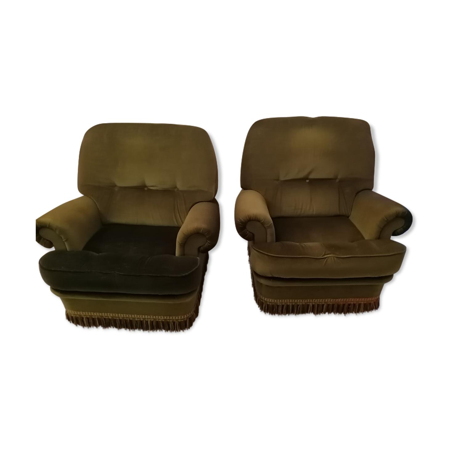 Paire de fauteuils vintage en velours