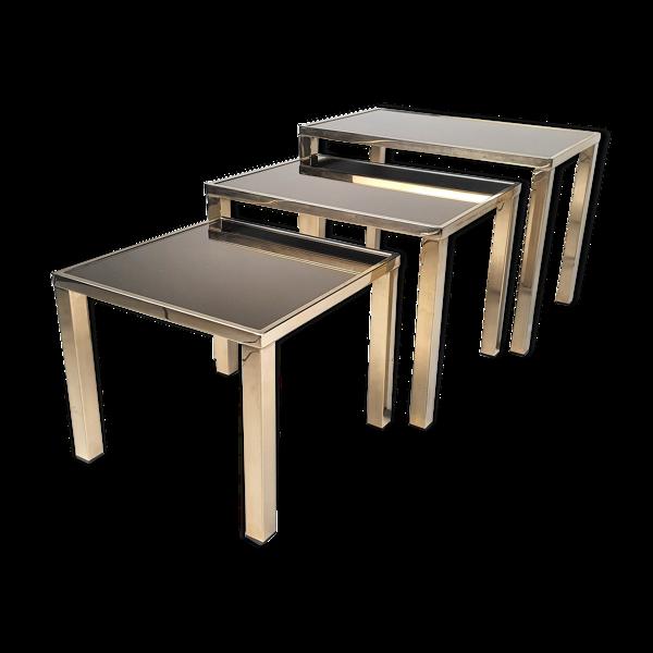 Ensemble de 3 tables gigognes plaquées or de 24 k par Belgo Chrom, années 1970