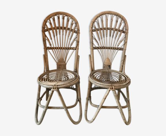 Paire de chaises en bambou et rotin