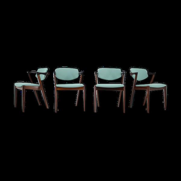 Selency Ensemble de 4 chaises à manger Kai Kristiansen en bois de rose, modèle 42, années 1960