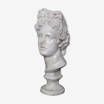 Buste Apollon en plâtre ciré