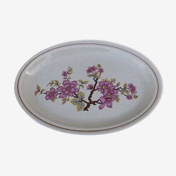 Plat ovale en faïence de Gien  modèle fleur de cerisier