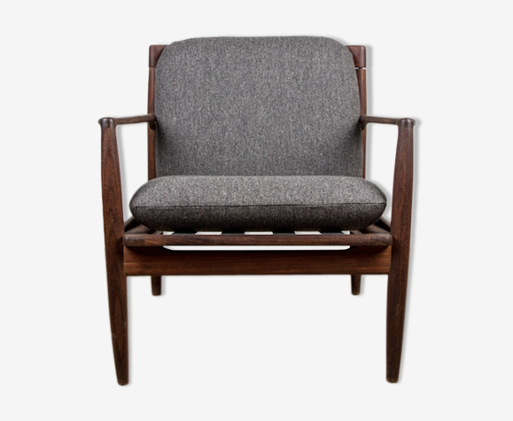 Danish armchair in dark teak and Kvadrat fabric Hallingdal 65 by Ib Kofod Larsen 1960
