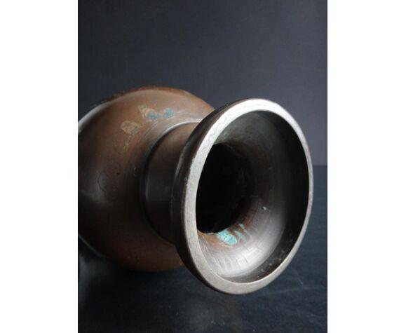 Ancien vase bronze vietnam 35cm incrustation argent XIXème