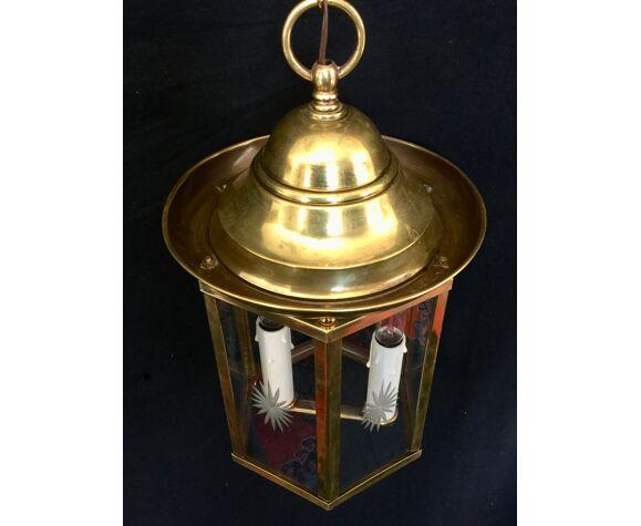 Lanterne 2 lumières en bronze et laiton