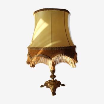 Lampe de table avec pied en laiton massif et décoré, Vintage