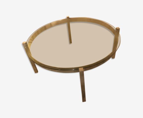 Table basse ronde verre/métal années 70