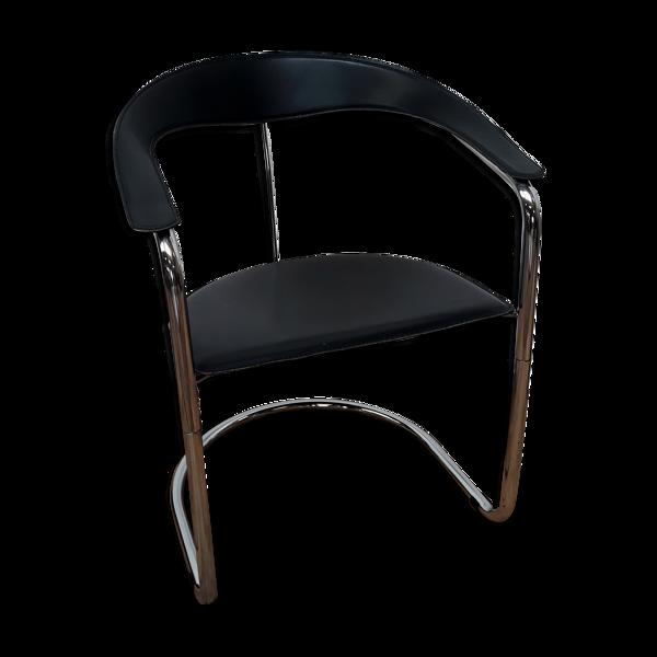 Fauteuil vintage métal chromé et cuir design italien