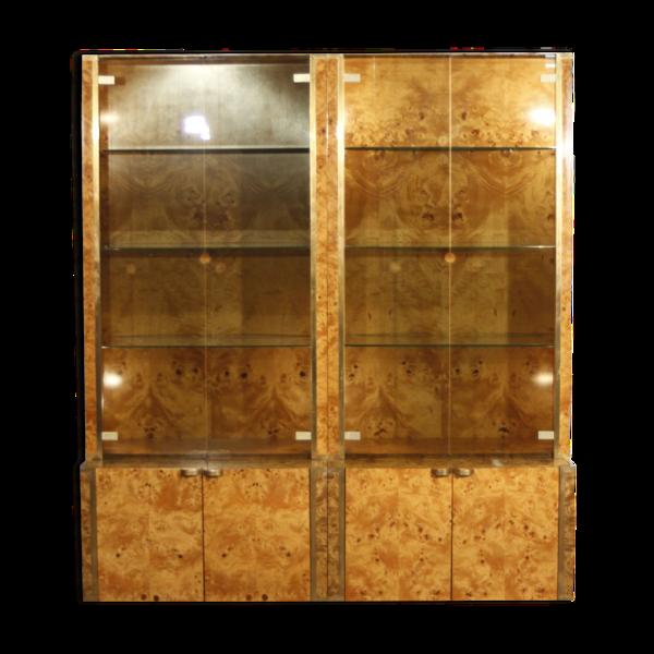 Double vitrine en orme par Jean Claude Mahey pour Roche Bobois, France, 1970s