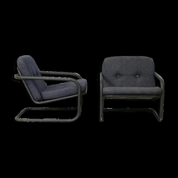 Paire de fauteuils édition Prisunic acier tubulaire et coussins mousses, France, 1973