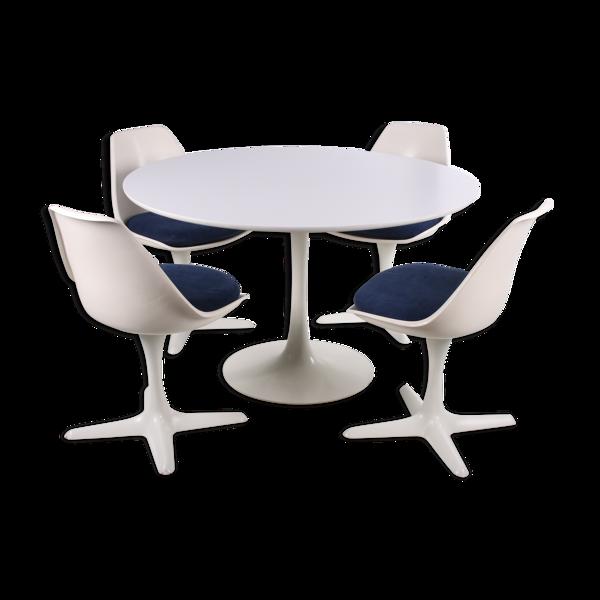 Selency Ensemble de table avec 4 chaises conçues par Maurice Burke réalisées par Arkana