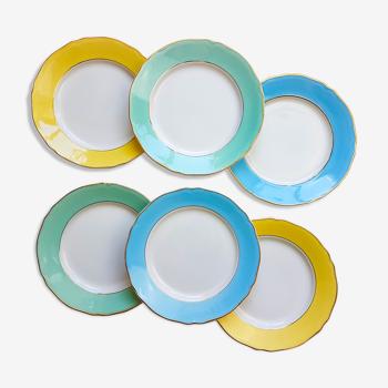 Lot de 6 assiettes plates multicolore vintage FB