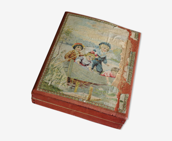 Antique french wooden cube blocks pictures puzzle jigsaw