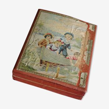 Puzzle antique français cube en bois bloque des images puzzle