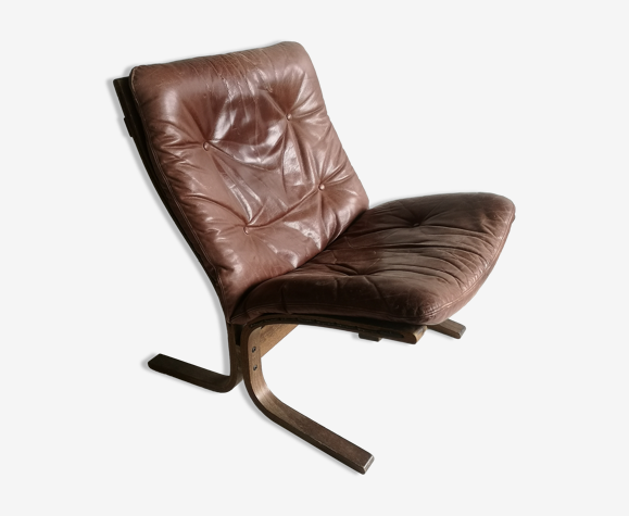 Chauffeuse scandinave cuir années 70, Ingmar Relling