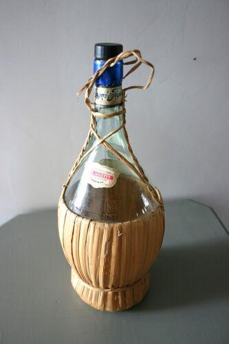 """Bouteille verre et osier chianti """"vintage 1967"""""""