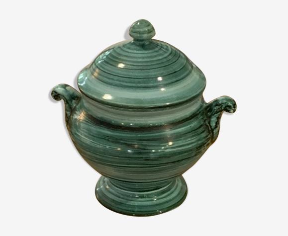 Soupière en céramique émaillée turquoise signée Loïc Carnac vintage