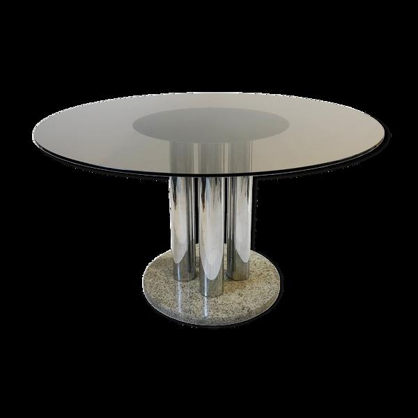 Selency Table chrome et granit Zanotta