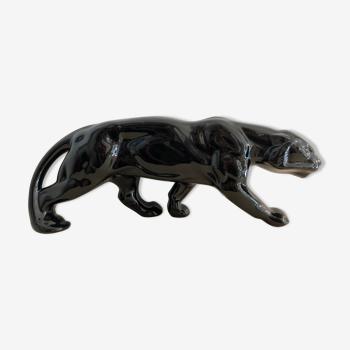 Panthère en céramique noire, art déco, France