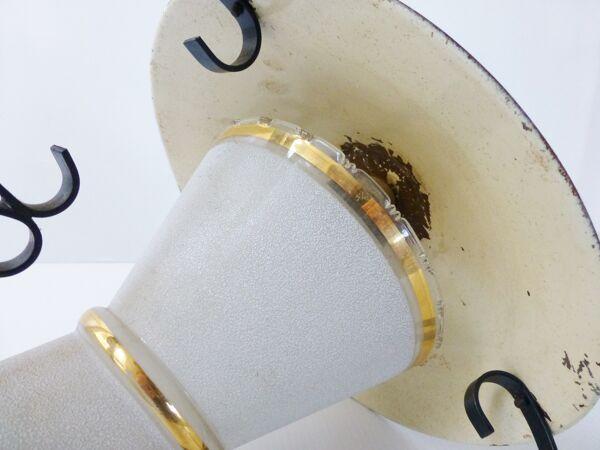 Lanterne lustre suspension en verre granité et tôle typique 1950 vintage 50's rockabilly