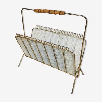 Porte revue tôle perforée et bambou, années 50