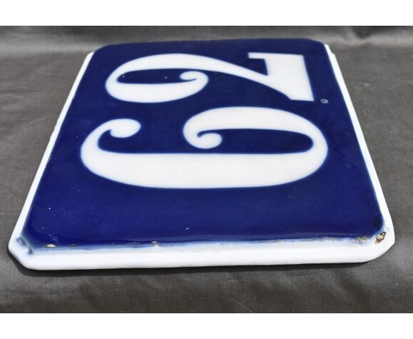Plaque porcelaine numéro de rue 62 bayeux valentine paris
