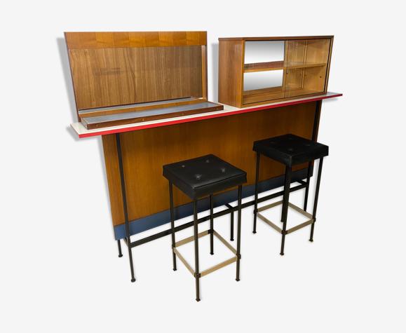 Bar vintage teck et formica avec tabouret