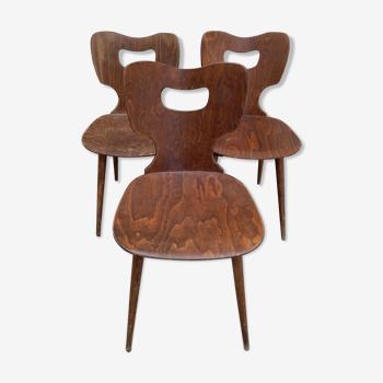 Serie de 3 chaises bistrot Baumann modèle Marteau
