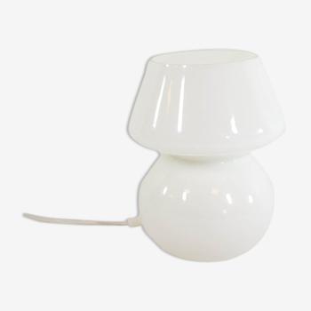 Lampe champignon classique verre opalin blanc années 80
