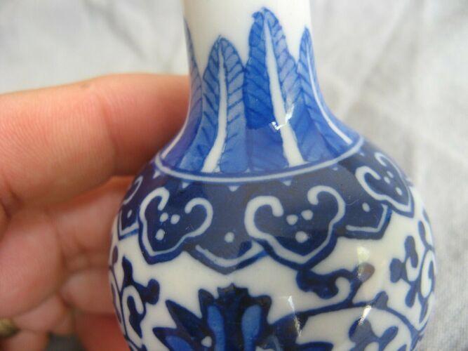 Vase soliflore en porcelaine de Chine Jingdezhen bleu