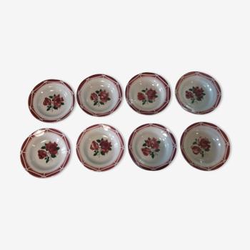 Série de huit assiettes creuses en faïence Digoin Sarreguemines modèle Cibon