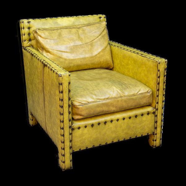 Selency Fauteuil en simili cuir vintage