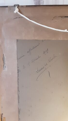 Tableau ancien sous verre - signé - année 1939