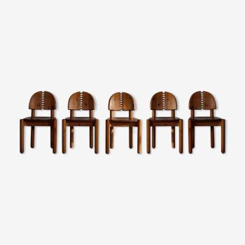 Ensemble de 5 chaises à manger dans le style de Rainer Daumiller