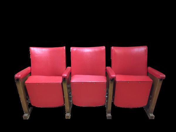 Fauteuils cinema années 50-60 imitation cuir 3 fauteuil et un strapontin