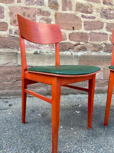 Paire de chaises bistrot vintage simili 1960